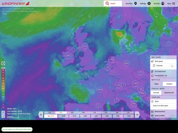 Screenshot of www.windfinder.com