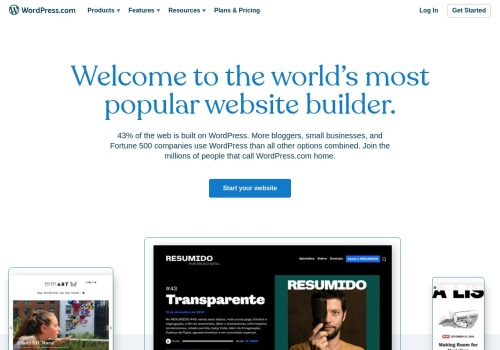 Screenshot of www.wordpress.com