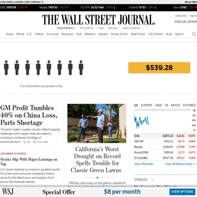 Screenshot of www.wsj.com