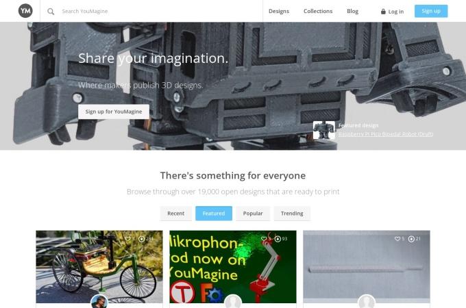Screenshot of www.youmagine.com