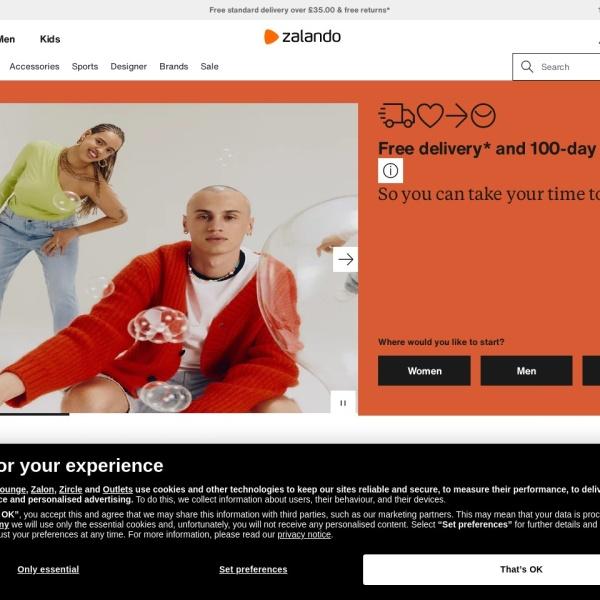 Screenshot of www.zalando.co.uk
