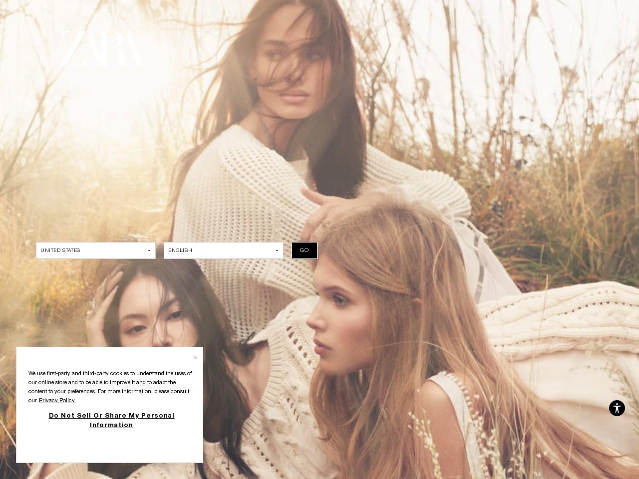 Captura de pantalla de www.zara.com