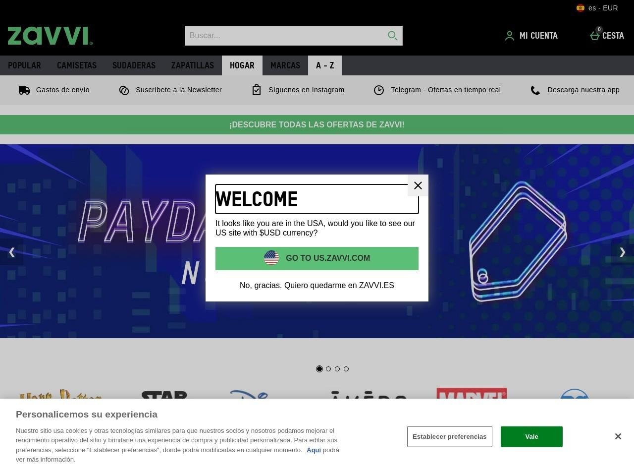 Captura de pantalla de www.zavvi.es