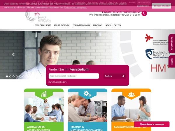 Screenshot of www.zfh.de