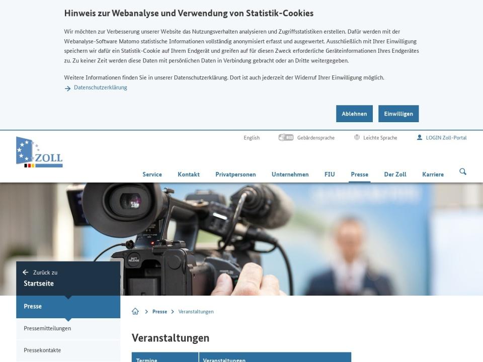 Screenshot von www.zoll.de