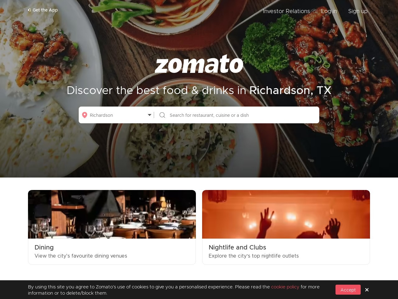 Screenshot of www.zomato.com