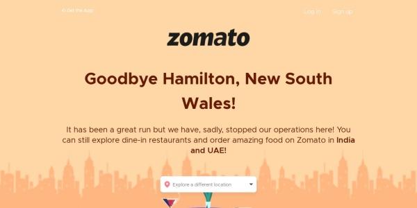 Screenshot of www.zomato.com