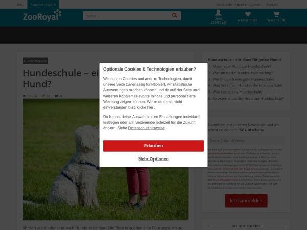 Screenshot von www.zooroyal.de