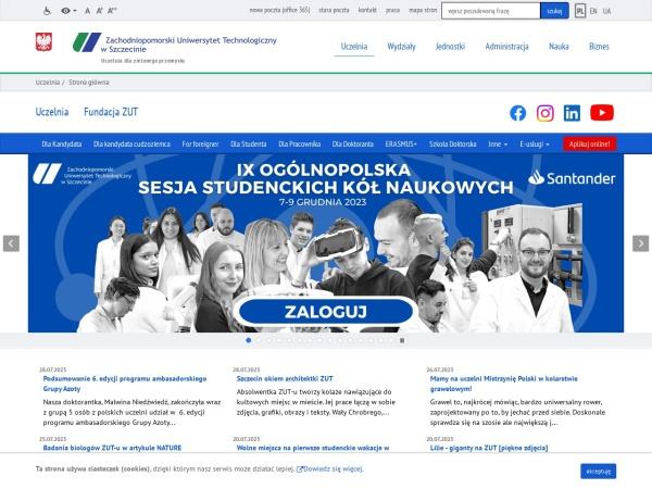 Screenshot of www.zut.edu.pl