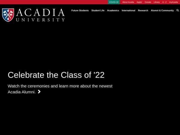 Screenshot of www2.acadiau.ca