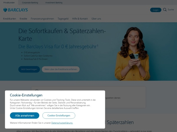 Screenshot of www2.barclaycard.de