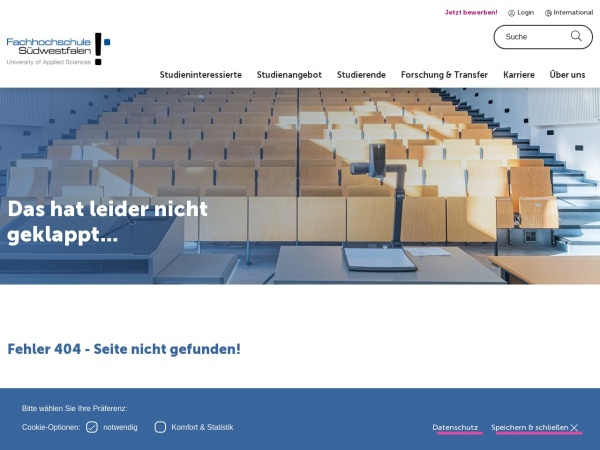Screenshot of www4.fh-swf.de