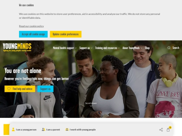 Screenshot of youngminds.org.uk