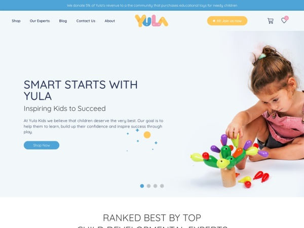 Screenshot of yulakids.com