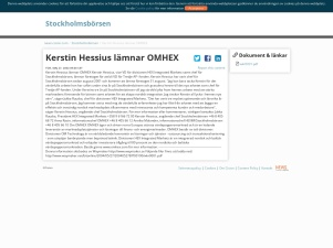 Kerstin Hessius Lämnar OMHEX - Stockholmsbörsen