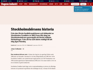 Stockholmsbörsens Historia - Dagens Industri