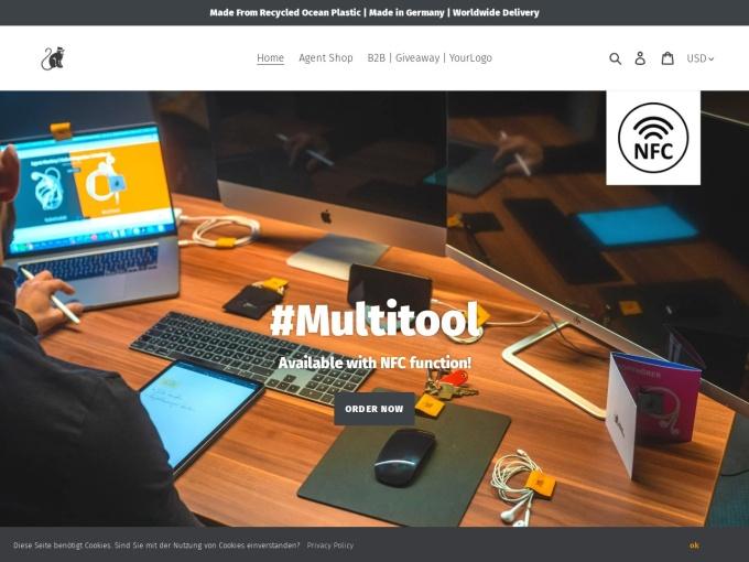Screenshot des Onlineshops von Agent Monkey