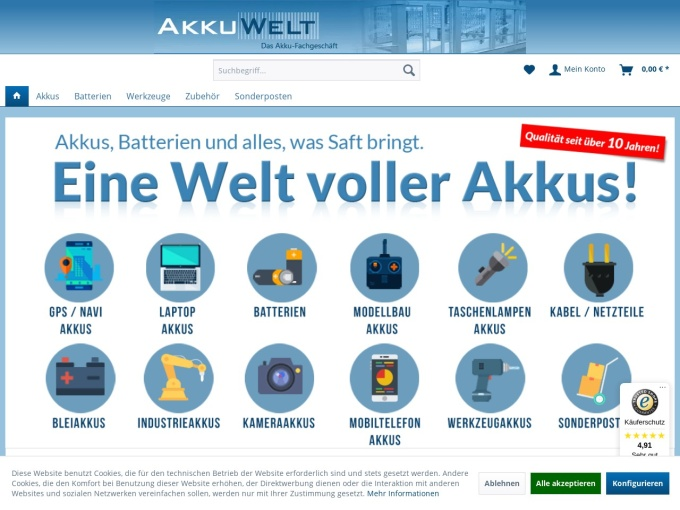 Screenshot des Onlineshops von AkkuWelt