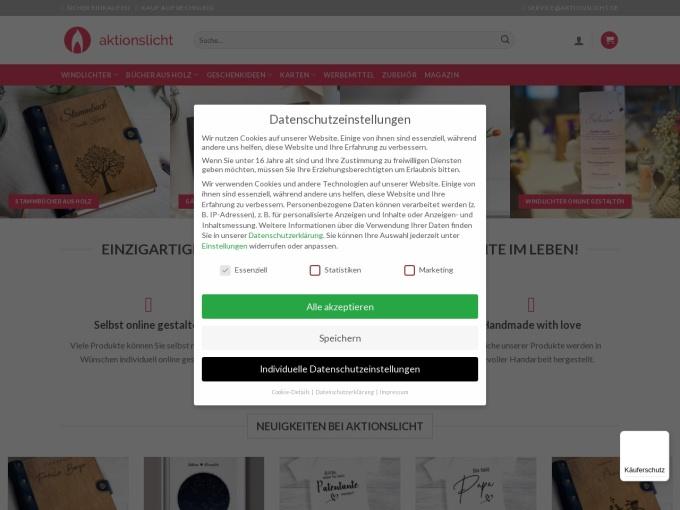 Screenshot des Onlineshops von aktionslicht