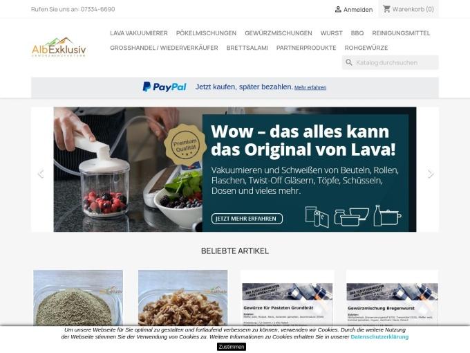 Screenshot des Onlineshops von AlbExklusiv