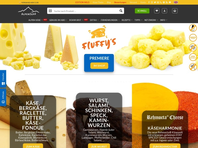 Screenshot des Onlineshops von Alpen Sepp