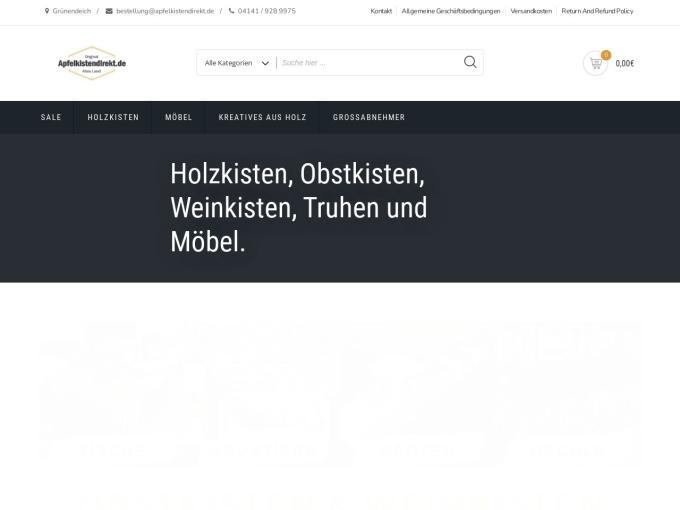 Screenshot des Onlineshops von Apfelkistendirekt