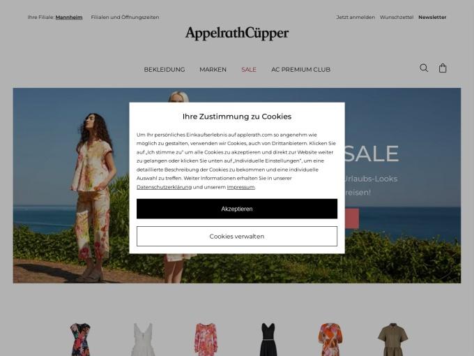 Screenshot des Onlineshops von AppelrathCüpper