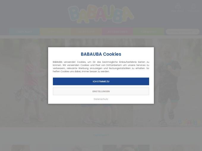 Screenshot des Onlineshops von Babauba
