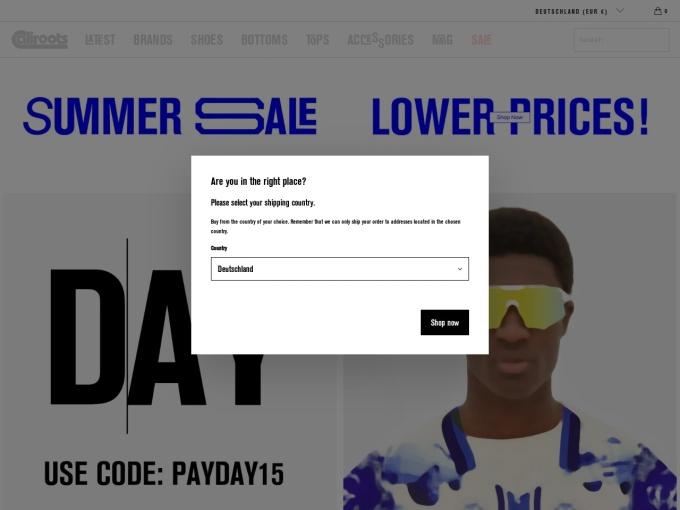 Screenshot des Onlineshops von Caliroots