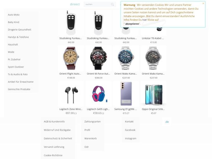 Screenshot des Onlineshops von direect
