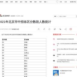 2021年北京市中招各区分数段人数统计|中招分数段|北京市_新浪教育_新浪网