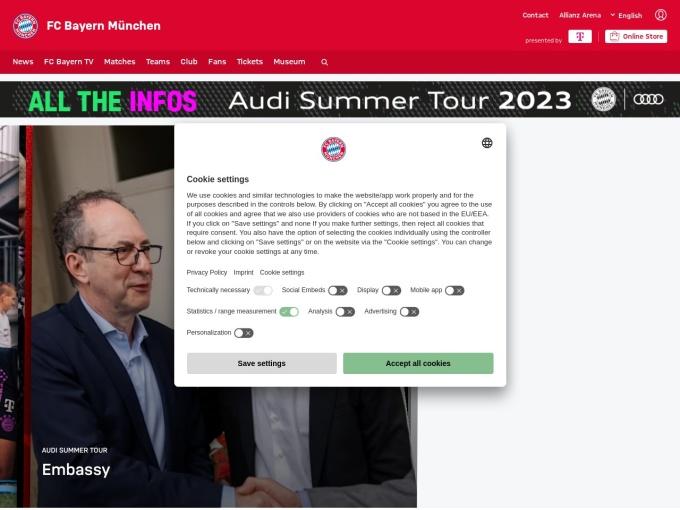Screenshot des Onlineshops von FC Bayern