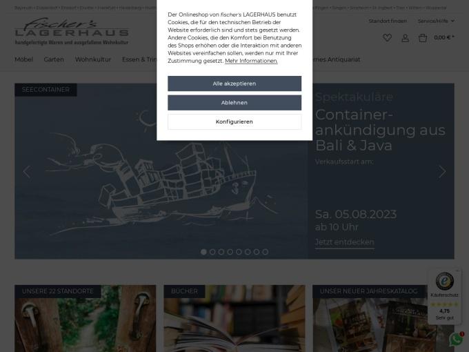Screenshot des Onlineshops von fischer's lagerhaus