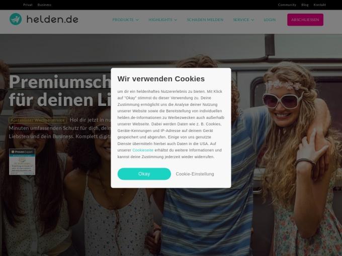 Screenshot des Onlineshops von Helden.de
