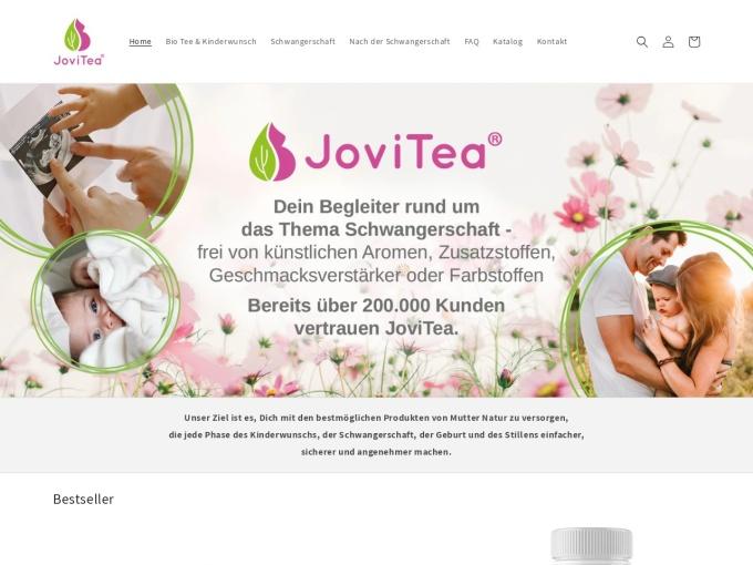 Screenshot des Onlineshops von JoviTea