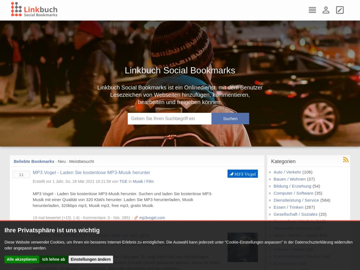 Linkbuch Social Bookmarks