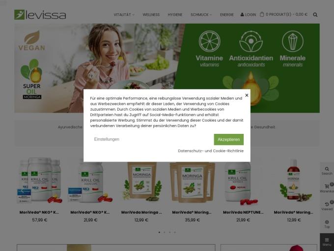 Screenshot des Onlineshops von LEVISSA