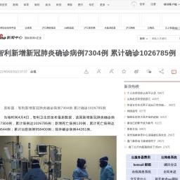 智利新增新冠肺炎确诊病例7304例 累计确诊1026785例 智利 新冠肺炎_新浪新闻