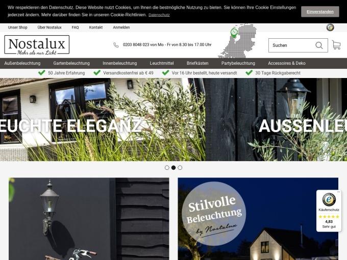 Screenshot des Onlineshops von Nostalux