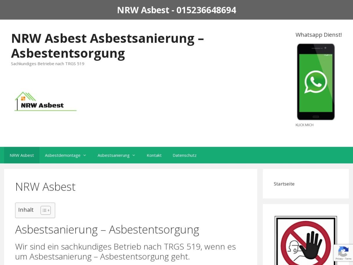 NRW Asbest ➤ Asbestsanierung - Asbestentsorgung ➤ SPEZIALISTEN