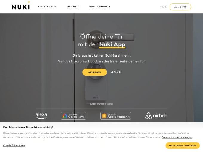 Screenshot des Onlineshops von NUKI
