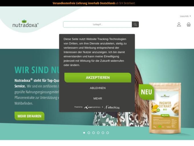 Screenshot des Onlineshops von Nutradoxa