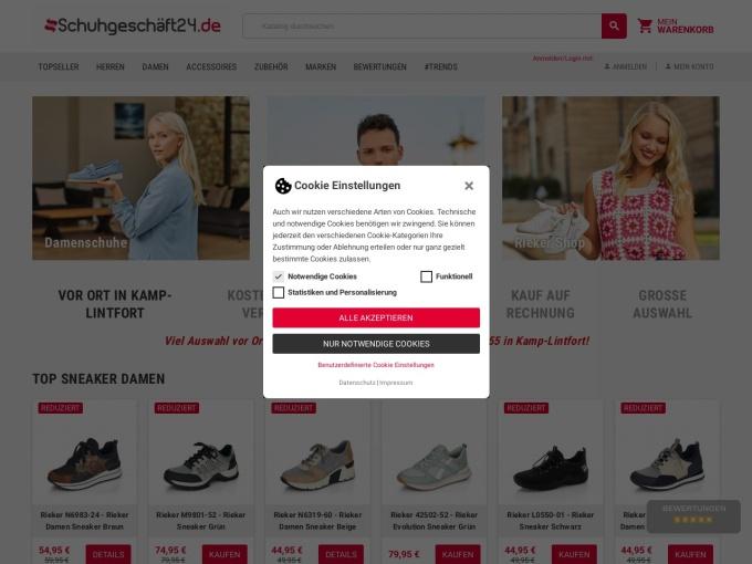 Screenshot des Onlineshops von Schuhgeschäft24