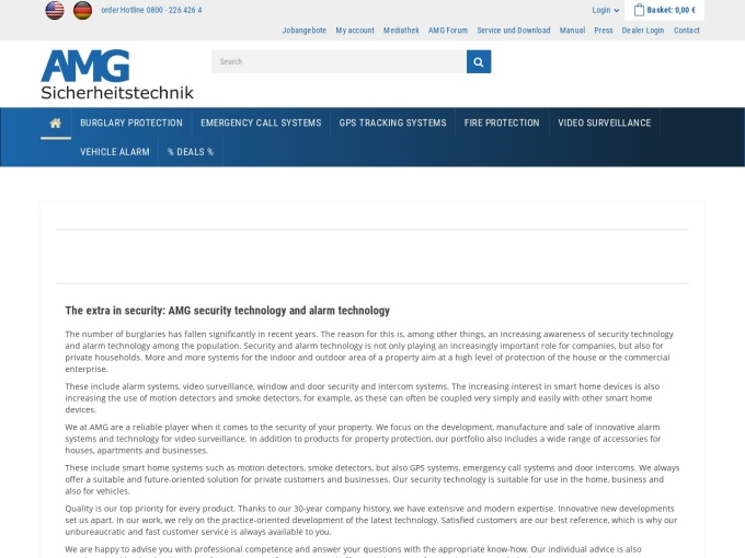 Screenshot des Onlineshops von AMG Sicherheitstechnik