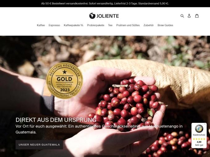 Screenshot des Onlineshops von Joliente