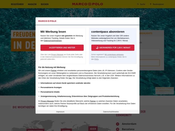 Screenshot des Onlineshops von Marco Polo
