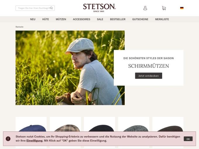 Screenshot des Onlineshops von Stetson