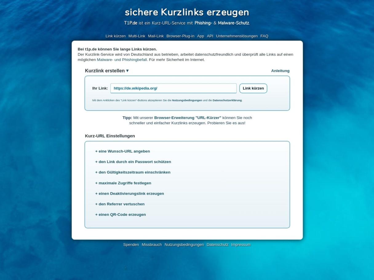 Kurz URLs mit Malware Schutz & Dereferrer Funktion