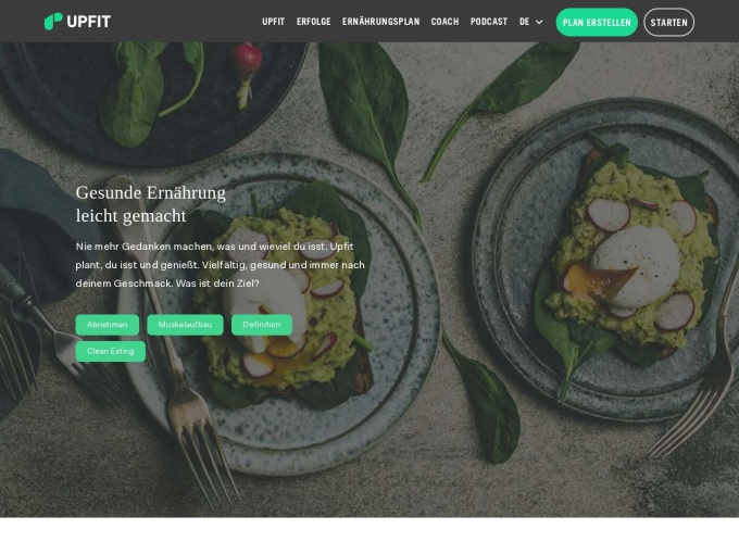 Screenshot des Onlineshops von UPFIT