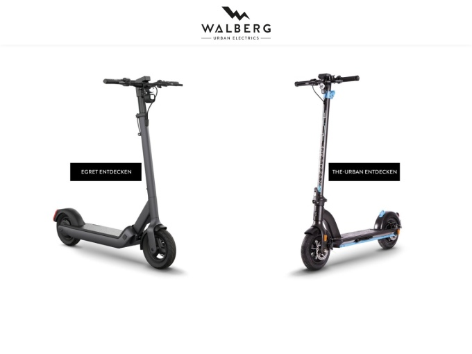Screenshot des Onlineshops von Walberg Urban Electrics